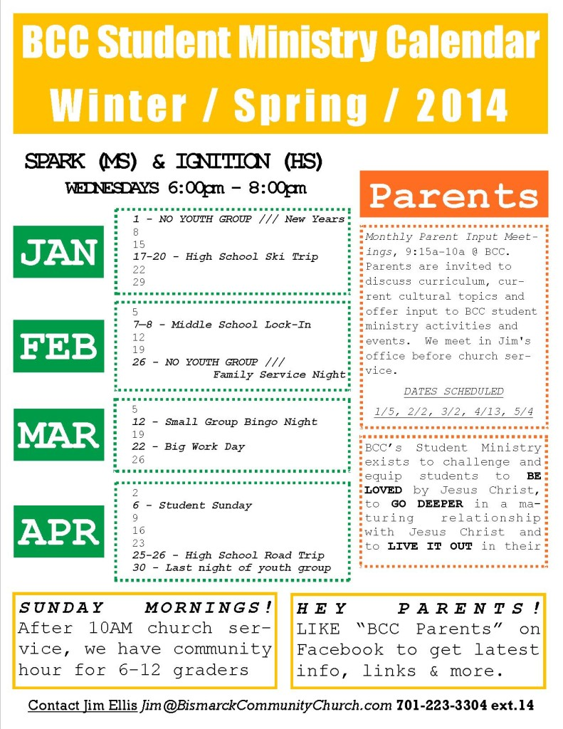 BCC Students Calendar - Winter.Spring 2014