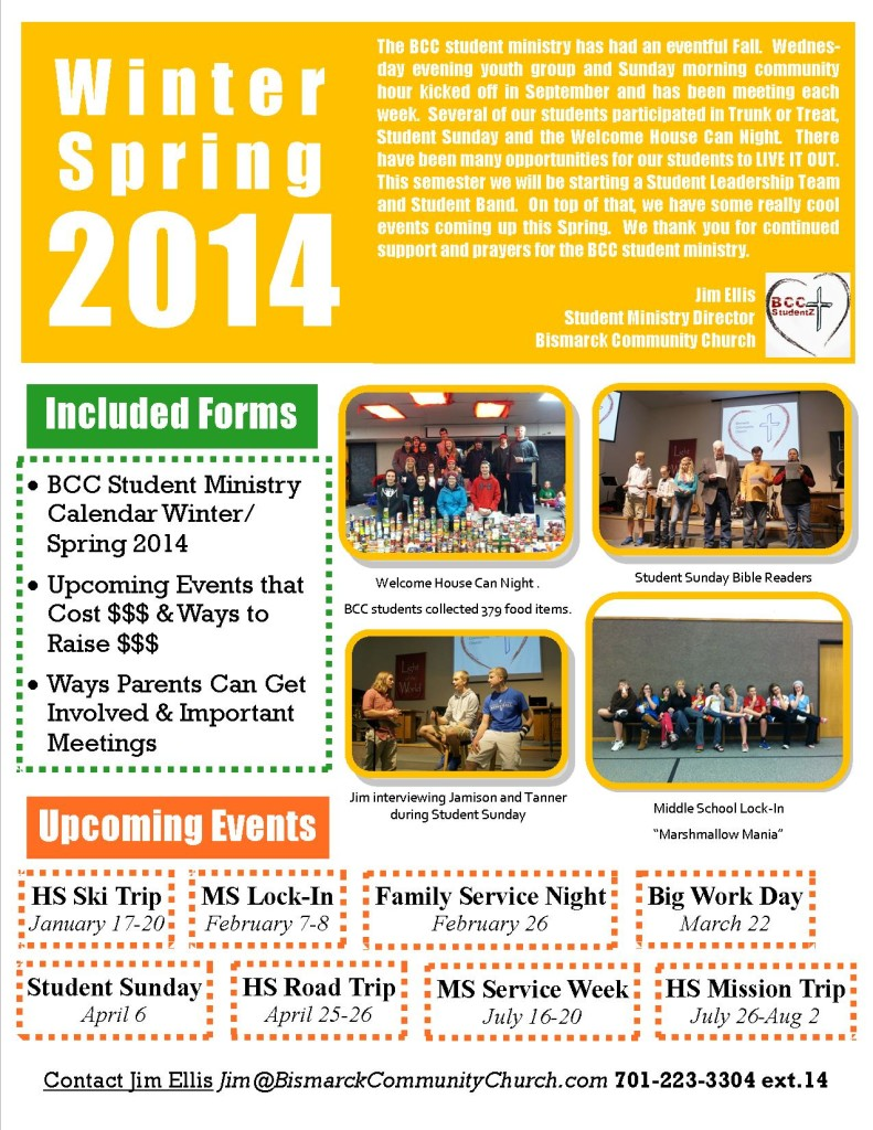 Winter.Spring 2014 Newsletter Mailer to Parents