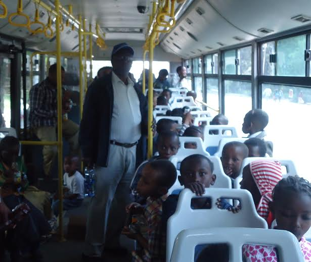 Riding on a bus! I can not imagine how exciting this was for the children!