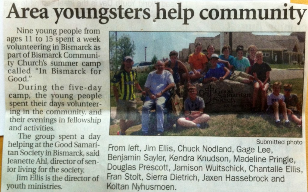 Middle School Service Week - In Bismarck For Good.  For one week middle school students served the Bismarck Community